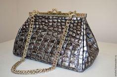 Купить Саквояж клатч - серебряный, сумка, сумка женская, сумка кожаная, саквояж из кожи