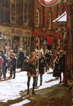 ' Covent Garden Tube Station ' oil painting London by Tony Karpinski