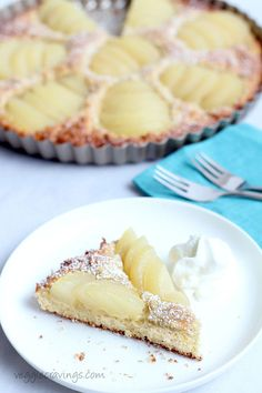 Pear and Almond Tart (Dairy and Gluten Free) | Easy non-dairy and gluten free recipe for a classic pear and almond tart.