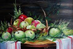 Картина Последние яблоки в этом году художник ЭВМ Трудолюбивая продажа картин Натюрморт Реализм. Куплю картину на заказ Масло холст