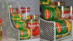 Repurposed magazine holders into kitchen can holders Can Storage, Camper Storage, Food Storage, Storage Hacks, Storage Ideas, Creative Decor, Creative Storage, Creative Food, Do It Yourself Design