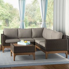Beachcrest Home Tovar 2 Piece Sectional Seating Group with Cushions & Reviews | Wayfair