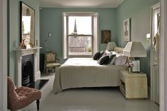 Bedroom , Neutral Egg Shell Blue Bedroom : Small Egg Shell Blue Bedroom Wall With White Bedding And Fireplace And Wall Art And Nightstands And Side Chairs And Duck Egg Blue Wall Paint, Duck Egg Blue Rooms, Duck Egg Blue Living Room, Duck Egg Blue Bedroom, Blue Painted Walls, Blue Bedroom Walls, Bedroom Carpet, Bedroom Colour Schemes Blue, Bedroom Colors