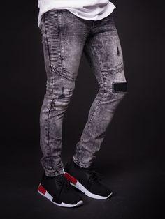 D&CO Men Ribbed Slim Fit Side Ridges Distressed Ripped Motor Biker Jeans - Washed Light Black