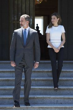 King Felipe and Queen Letizia receive Slovenian President Borut Pahor at the Zarzuela Palace in Madrid
