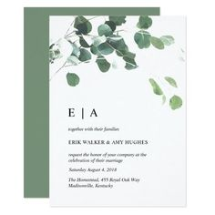 Watercolor leaves wedding invitation (affiliate) #weddinginvitations #weddinginvites #greenery #watercolor #minimalist
