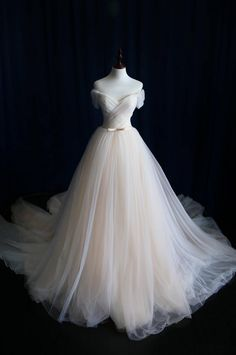 A-line Wedding Dress, Off-shoulder Wedding Dress,Tulle Bridal Dress,Pleat Bridal Dresses,Customized on Luulla