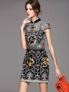 Gray Short Qipao / Cheongsam Dress with Retro Pattern