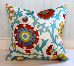 Suzani Upholstery Pillow Cover / 18 X 18 / Red, Blue, Yellow and Turquoise on Ivory background.