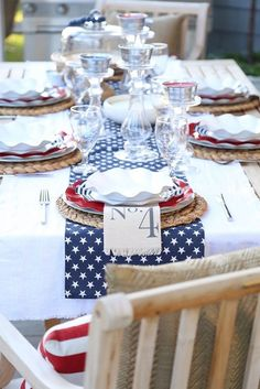 Summer BARBECUE - Patriotic Tablescape for Labor day, or July 03 by Between Naps on the Porch. Fourth Of July Decor, 4th Of July Celebration, 4th Of July Decorations, 4th Of July Party, July 4th, Table Decorations, Floating Paper Lanterns, Summer Barbecue, Independence Day