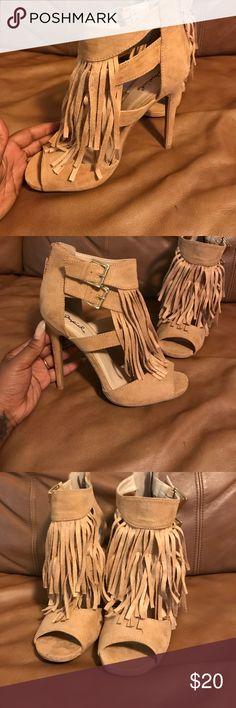 Qupid Size 7 1/2 Tan Heels! Never worn! Qupid Size 7 1/2 Tan Heels Qupid Shoes Heels