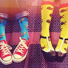 Simpsons and Teenage Mutant Turtles Socks @ Urban Outfitters Just Style, Stocking Tights, Crazy Socks, Japanese Street Fashion, Brown Heels, Colorful Socks, Future Fashion, Sock Shoes, Leggings Fashion