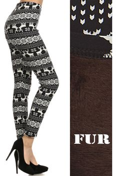 - Extra warm thick fur lined Winter legging with reindeer isle print. Perfect for cold Winter days. - Please note warmness might be different for different areas. Elastic waist for comfortable wear. -
