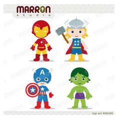 Super Heroe Inspired set Avengers Kids, Thor, Captain America, Iron Man and Hulk Clip Art birthdays