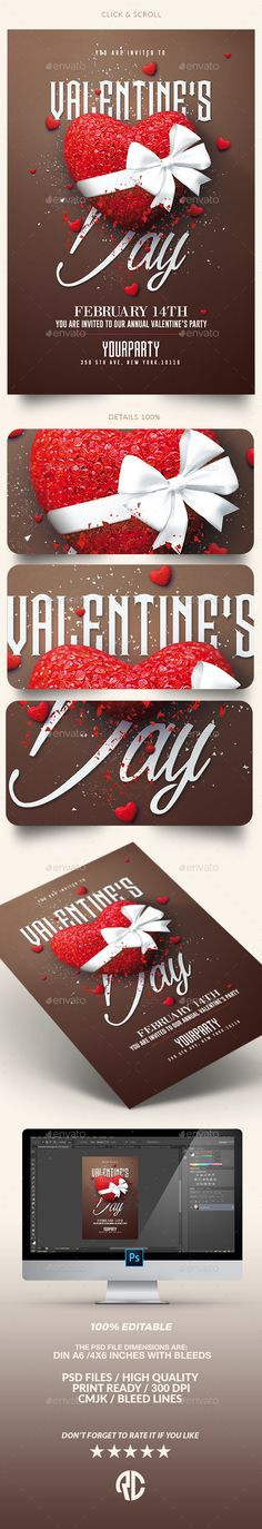 Valentine's Day Party | Psd Template — Photoshop PSD #event #psd flyer party • Download ➝ https://graphicriver.net/item/valentines-day-party-psd-template/19261101?ref=pxcr