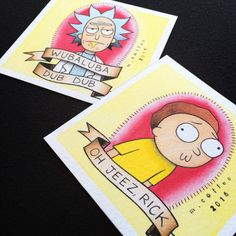 Rick et Morty Tattoo Flash Mini Prints par Michelle café