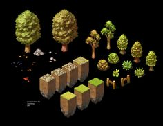 These are graphics I've created for isometric game: Hartacon. I find it interesting how a small sample of tiles . Isometric Art, Isometric Design, Game Environment, Environment Design, Environment Concept, Sprites, Indie Games, 2d Game Art, Game Textures