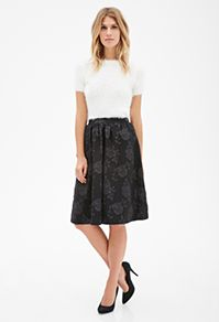 Skirts - Forever 21 UK - Rose-Patterned A-Line Skirt