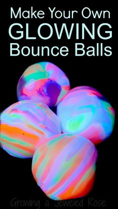 Make your own glow in the dark RAINBOW bounce balls using common household ingredients. So much fun!