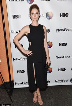 Standing tall: The 5ft10in actress pinned her hair up into an elegant bun as she stood tal...