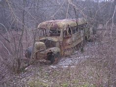 abandoned and decaying school bus