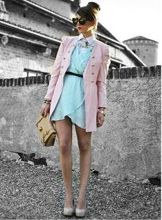pastels + layering ideas... dont really like the style of the dress, but hey.. its the idea that counts!