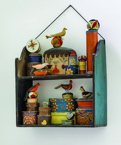 Part of an amazing Folk Art Collection! Miniature wallpaper boxes, sewing balls and various birds. This shelf has beautiful lines as well. Primitive Folk Art, Arte Popular, Painted Boxes, Displaying Collections, Tole Painting, Outsider Art, Creations, Arts And Crafts, Miniatures