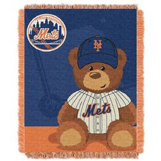 New York Mets MLB Field Bear Woven Jacquard Baby Throw by Northwest Company // $30.00