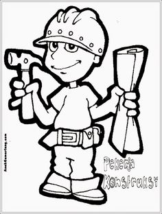 mewarnai gambar profesi pekerja konstruksi