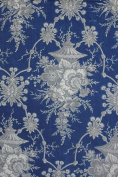 wonderful century, French Prussian blue fabric ~ wonderful grey and blue tones ~ century printed fabric from France ~ Blue Fabric, French Fabric, French Lace, Prussian Blue, Fabric Wallpaper, Wallpaper Patterns, Fabulous Fabrics, Blue Tones, Colors