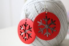 RED Snowflake Cut wood earring  Naturally Beauty by muiwish, $5.50