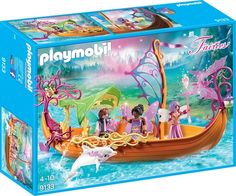 Playmobil Enchanted Fairy Ship Take a magical journey on the Enchanted Fairy Ship. Aboard this floating boat, the fairies can travel throughout their realm, Play Mobile, Playmobil Fairies, Playmobil Sets, Monster High, Hello Kitty, Floating Boat, Enchanted Fairies, Ice Princess, Beautiful Fairies
