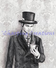 Mad Hatter Art Print Alice in Wonderland Art Fantasy Art Fairy Tale Art Wall Art We're All Mad Here Tea Party Lewis Carroll My Canvas, Canvas Prints, Art Prints, Alice In Wonderland Poster, Fairytale Art, Photo Reference, Ink Color, Fantasy Art, Fairy Tales