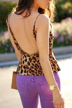 leopard top and purple denim skinnies - who knew!  From hapatime.com
