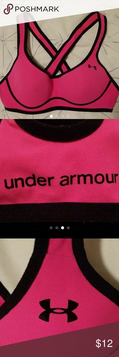 Under Armour sports bra 34A  Molded cups Hot pink and black Under Armour Other