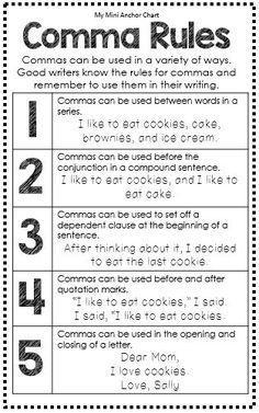 Grammar Posters, EDUCATİON, Comma Rules Anchor Chart - Great for Interactive Writing Journal - Grammar Mini Anchor Charts. Grammar Skills, Teaching Grammar, Grammar Lessons, Writing Lessons, Teaching Writing, Teaching English, English Grammar, Teaching Spanish, Grammar Tips