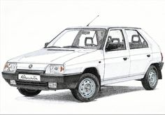 Skoda Favorit This car hasn't any convenient addons, and its engine isn't very vigorous. But this mechanical purity and simplicity has its charm. Scroll Saw Patterns, Insta Art, Benz, Porsche, Drawing Art, Automotive Design, Drawings, Classic, Vehicles