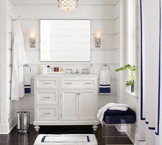 Custom Classic Asymmetric Single Sink Vanity with Door Storage - Carrara Marble Gray And White Bathroom, White Bathroom Accessories, Widespread Bathroom Faucet, Bathroom Sink Faucets, Bathroom Lighting, Vinyl Shower Curtains, Dark Bathrooms, Single Sink Vanity, Loft