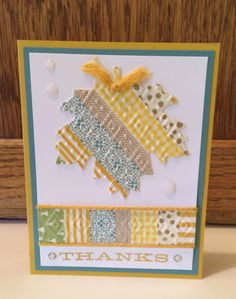 handmade thanksgiving card by Kris Dickinson ... strips of washi tape ... die cut maple leaf with dots embossing folder texture ... Stampin' Up!