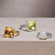 Châtelaine® rings with citrine, lemon citrine, and mosaic pavé diamonds will light up her day. #DavidYurman ( # @davidyurman )