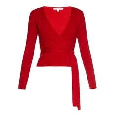 Diane Von Furstenberg Ballerina wrap cardigan ($345) ❤ liked on Polyvore featuring tops, cardigans, red, tie top, ballet cardigan, lightweight knit cardigan, ballet wrap cardigan and red top