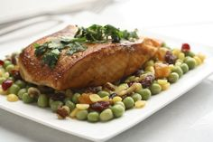 Grilled Salmon with Coriander and an Autumn Stir-fry of Mixed Split Peas