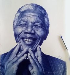 Ghana-based artist Enam Bosokah captures incredible likenesses using only a blue ballpoint pen. The stunningly-realistic portrait drawings depict world leaders, writers, as well as children and couples. Biro Art, Ballpoint Pen Drawing, Caricatures, Stylo Art, Pen Illustration, Marie Curie, African Artists, Drawing People, Art World
