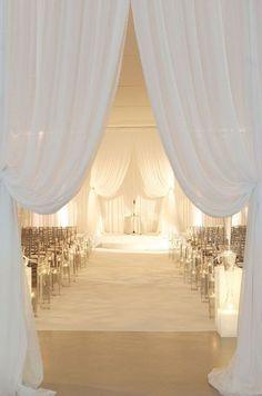 Photographer: Jennifer Kathryn Photography; Glamorous indoor white wedding ceremony