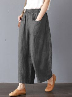 ZANZEA Wide Leg Striped Elastic Waist Plain Oversized Solid Color Pants is necessary for cold weather, NewChic will show cheap trendy women Pants & Capris for you. Pantalon Streetwear, Pants For Women, Clothes For Women, Stripes Fashion, Linen Pants, Wide Leg Pants, Ankle Pants, Elastic Waist, Harem Pants