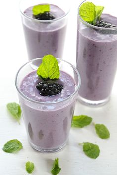 Blackberry Banana Mint Smoothie -Makes 4 servings - 1 cup Greek yogurt,   3 cups soy milk (more or less if you like), 6 oz organic fresh blackberries, 2 frozen bananas, 3-4 tablespoons honey (more or less if you like), 1/4 cup flax seed meal (optional), Fresh mint