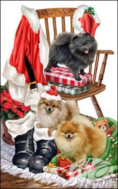 """Pomeranian Christmas Holiday Cards are 8 1/2"""" x 5 1/2"""" and come in packages of 12 cards. One design per package. All designs include envelopes, your personal message, and choice of greeting.  Select the greeting of your choice from the drop-down menu above.  Add your personal message to the Comments box during checkout."""