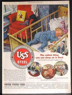 1947 Keith Ward Baby Crib Bed Raggedy Andy Doll USS Steel Original Vintage Ad