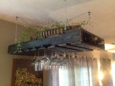 hanging pallet for wine bottles & glasses
