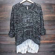 marled open knit sweater with lace hem in black